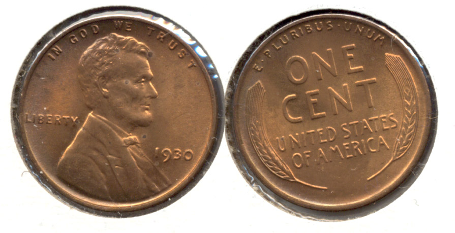 1930 Lincoln Cent MS-64 Red Brown g