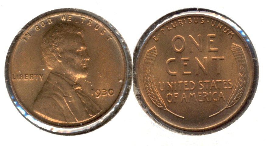 1930 Lincoln Cent MS-64 Red Brown h