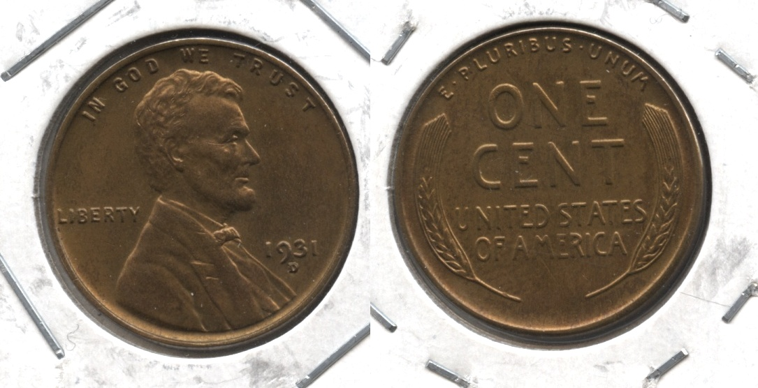 1931-D Lincoln Cent MS-63 Red Brown #a
