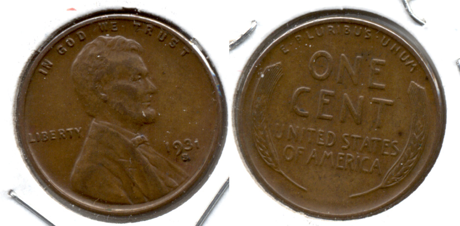 1931-S Lincoln Cent EF-40 f