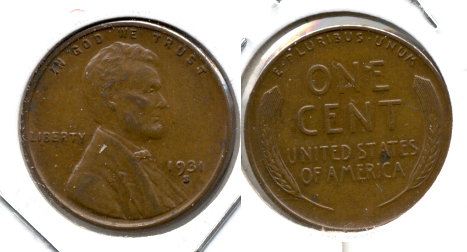 1931-S Lincoln Cent EF-40 h