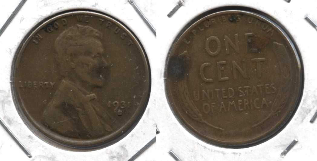 1931-S Lincoln Cent VF-20 #g Dark Patches