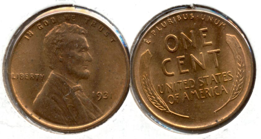 1931 Lincoln Cent MS-60 Red Brown
