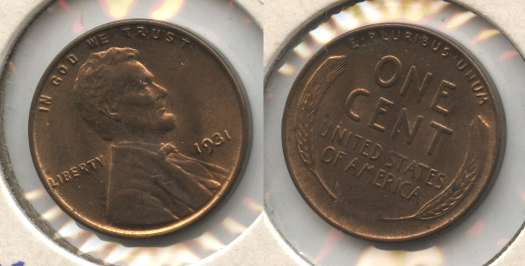 1931 Lincoln Cent MS-60 Red Brown #a