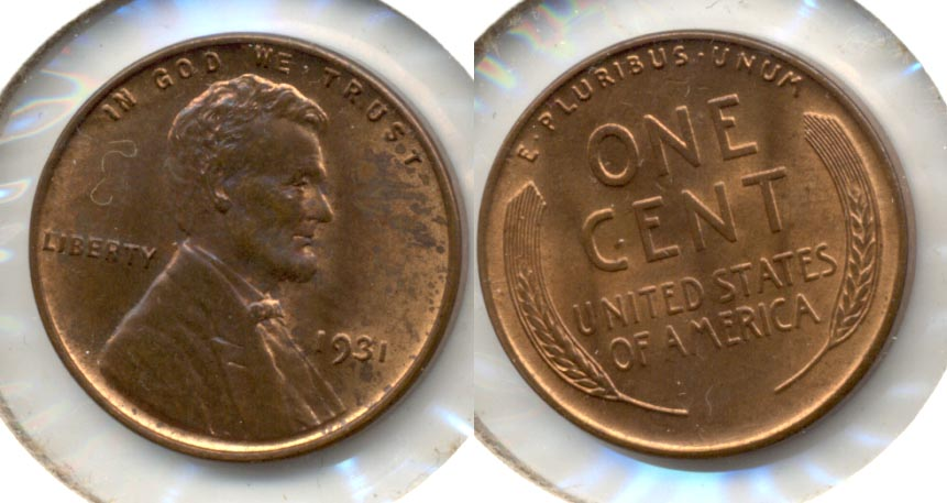 1931 Lincoln Cent MS-63 Red Brown