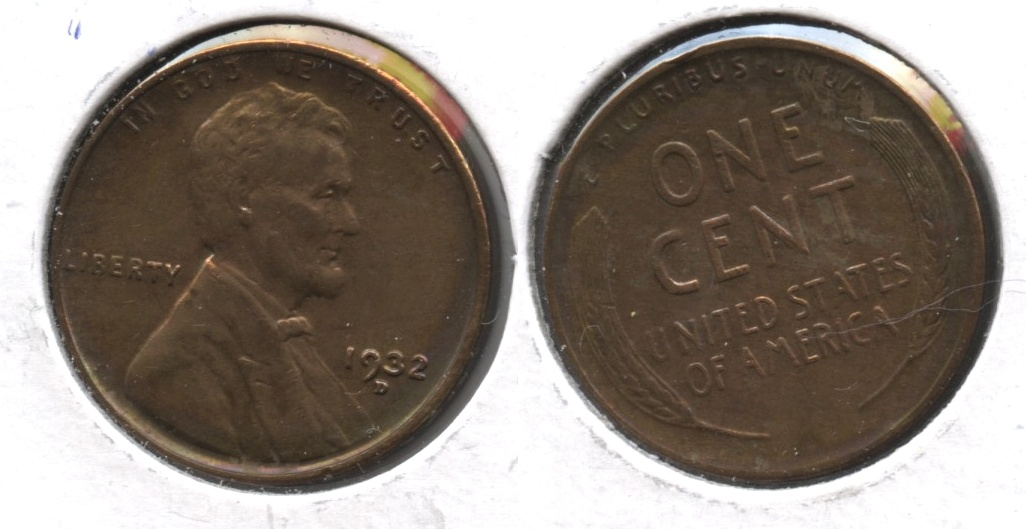 1932-D Lincoln Cent AU-50 Cleaned #e