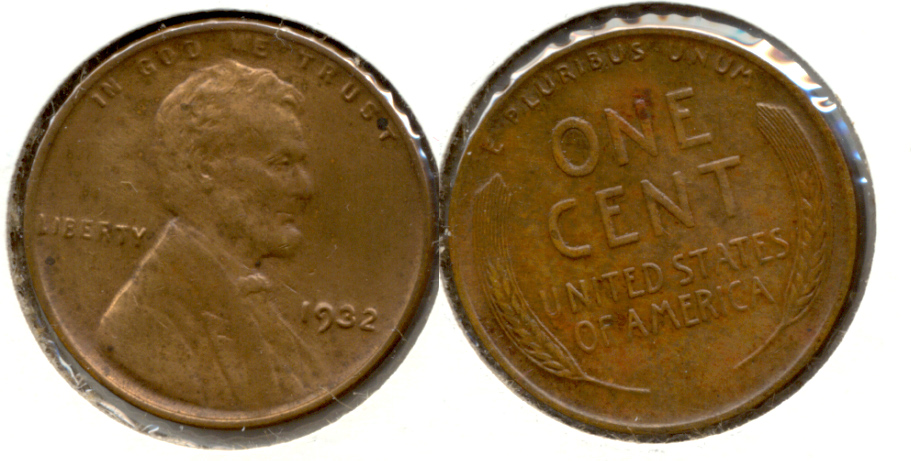 1932 Lincoln Cent AU-50 a Cleaned Obverse