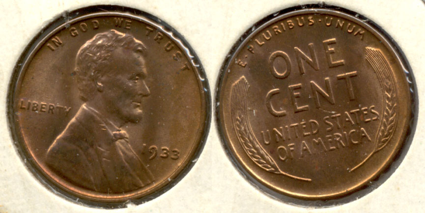 1933 Lincoln Cent MS-60 Red Brown