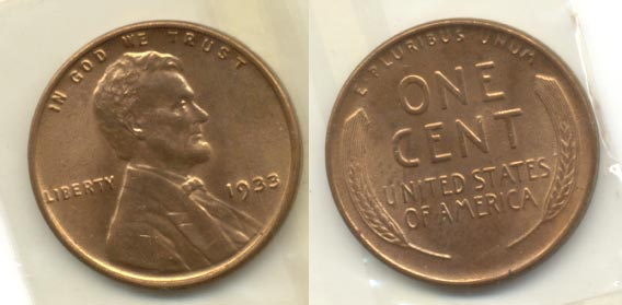 1933 Lincoln Cent MS-63 Red Brown