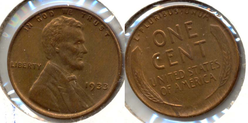 1933 Lincoln Cent MS-63 Red Brown a