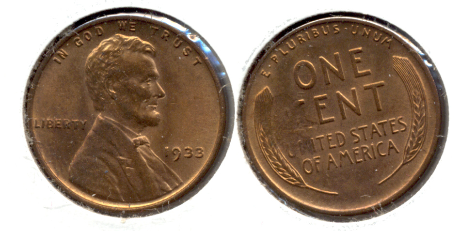 1933 Lincoln Cent MS-63 Red Brown Struck Through Error