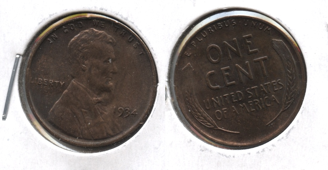 1934 Lincoln Cent MS-60 Brown
