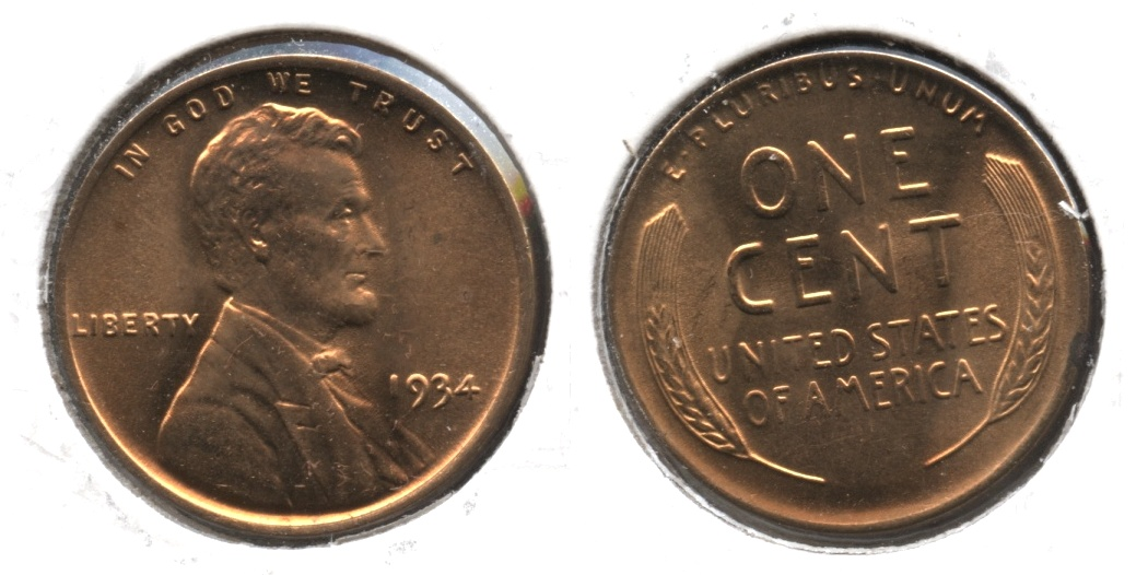 1934 Lincoln Cent MS-63 Red #a