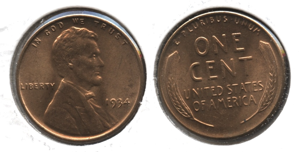 1934 Lincoln Cent MS-63 Red #b