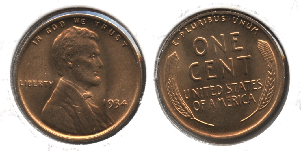 1934 Lincoln Cent MS-64 Red #a