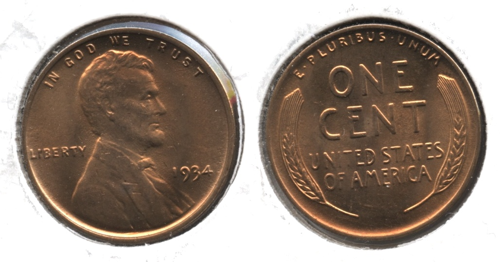 1934 Lincoln Cent MS-64 Red #b
