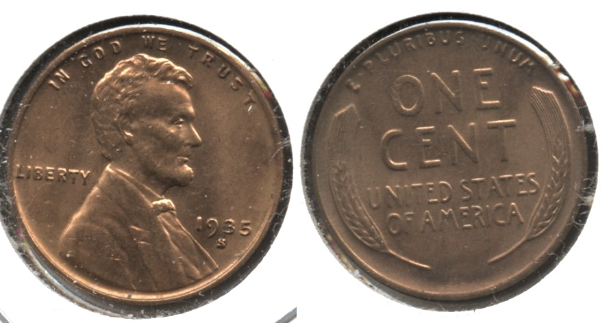 1935-S Lincoln Cent MS-62 Red #c