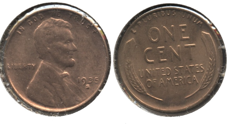 1935-S Lincoln Cent MS-62 Red #d