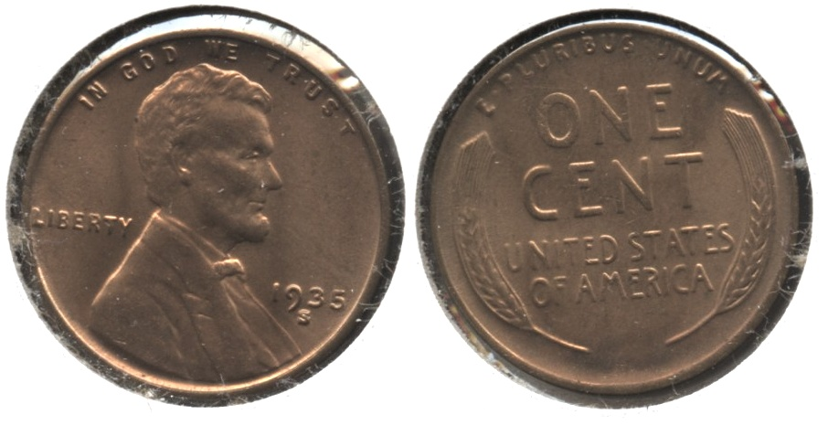 1935-S Lincoln Cent MS-62 Red #e