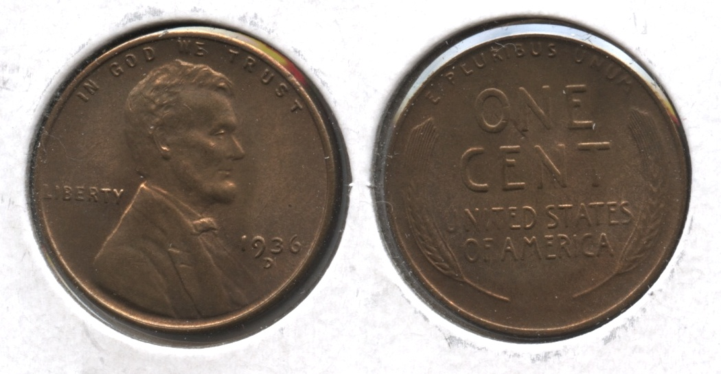 1936-D Lincoln Cent MS-64 Red Brown