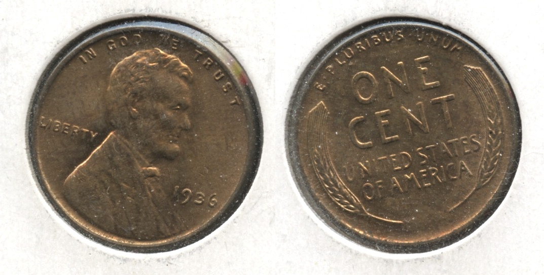 1936 Lincoln Cent MS-61 Red Brown