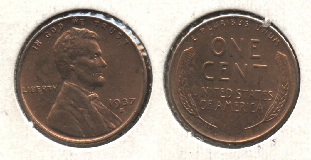 1937-S Lincoln Cent MS-61 Red Brown