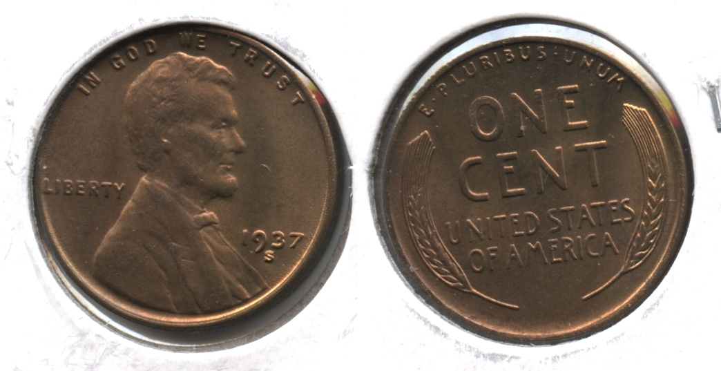 1937-S Lincoln Cent MS-63 Brown