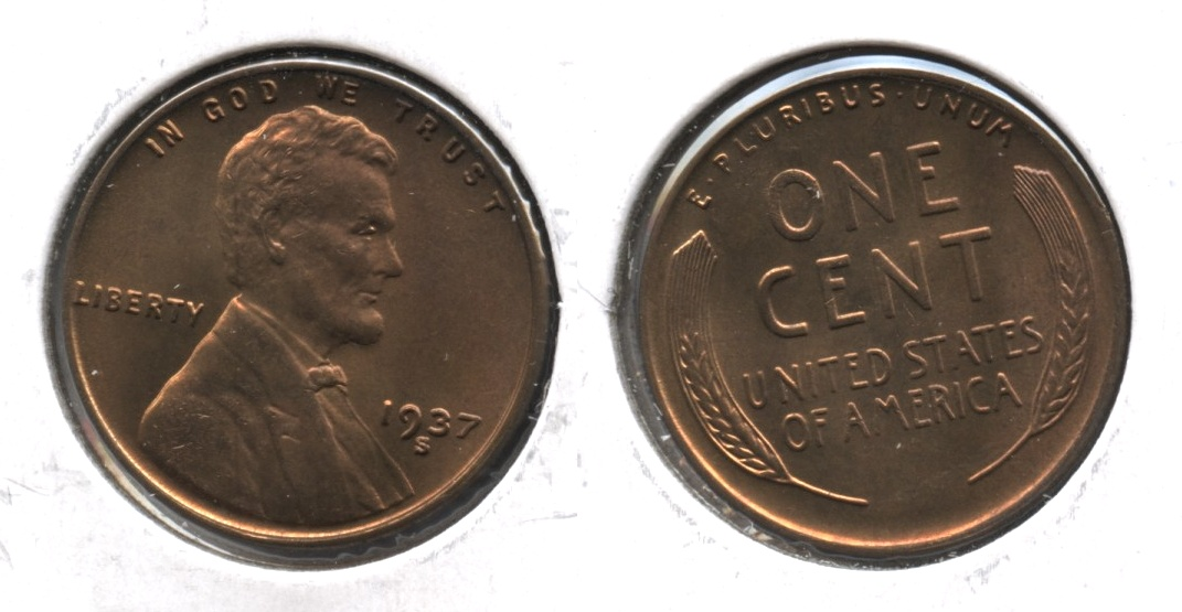 1937-S Lincoln Cent MS-63 Red Brown #a