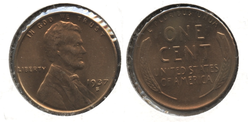 1937-S Lincoln Cent MS-63 Red Brown #i