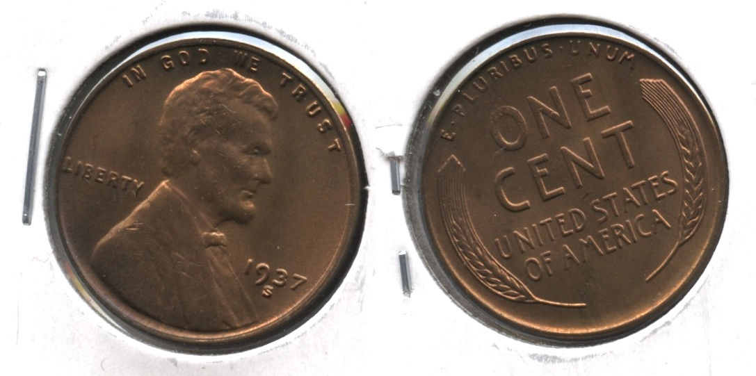 1937-S Lincoln Cent MS-64 Red Brown