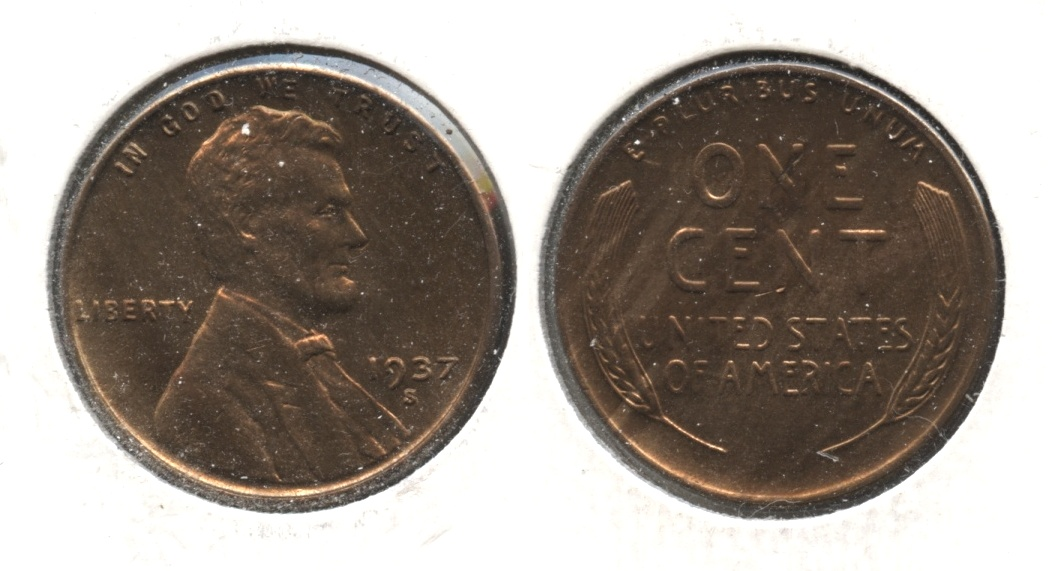 1937-S Lincoln Cent MS-64 Red Brown #h
