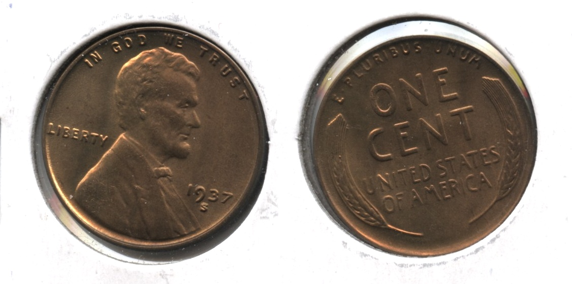 1937-S Lincoln Cent MS-65 Red Brown