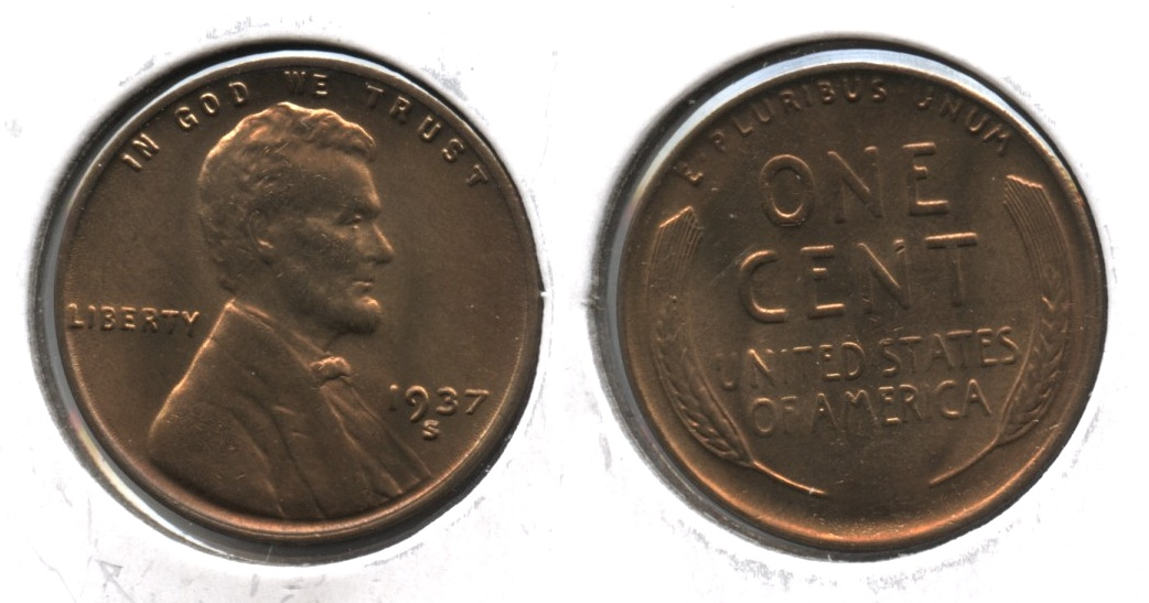 1937-S Lincoln Cent MS-65 Red Brown #a