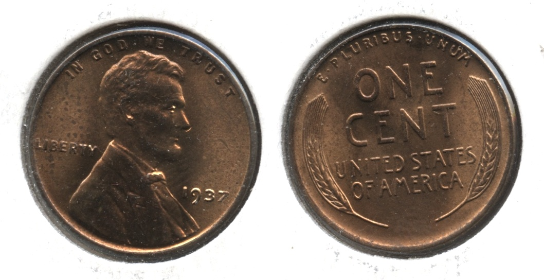 1937 Lincoln Cent MS-61 Red Brown