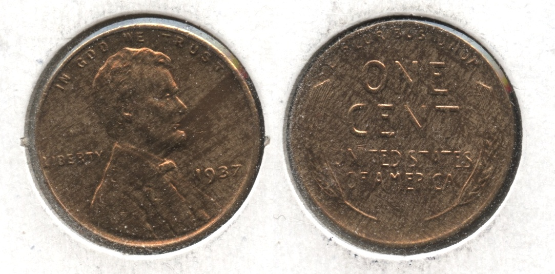 1937 Lincoln Cent MS-63 Red Brown