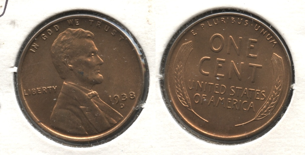 1938-D Lincoln Cent MS-62 Red