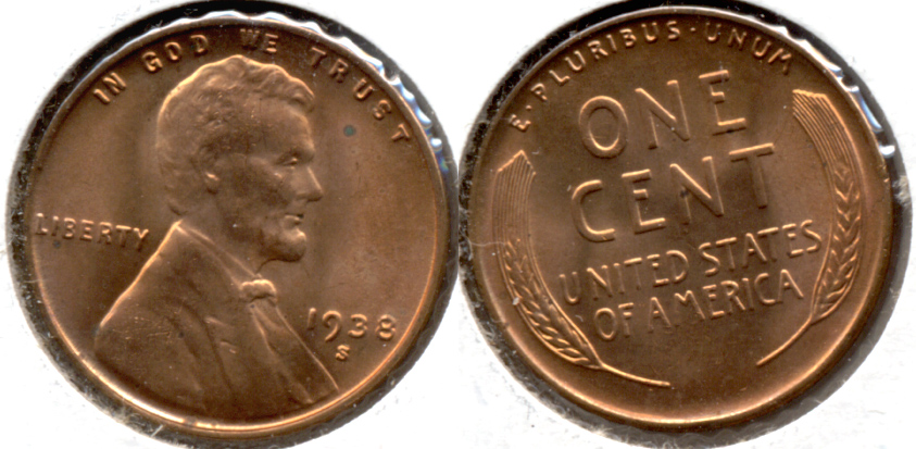 1938-S Lincoln Cent MS-61 Red