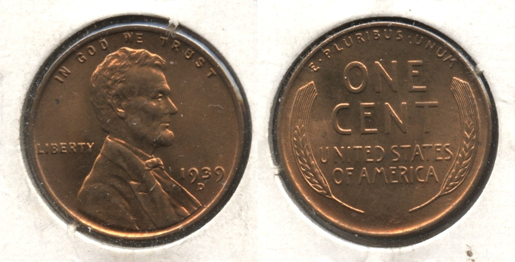 1939-D Lincoln Cent MS-61 Red