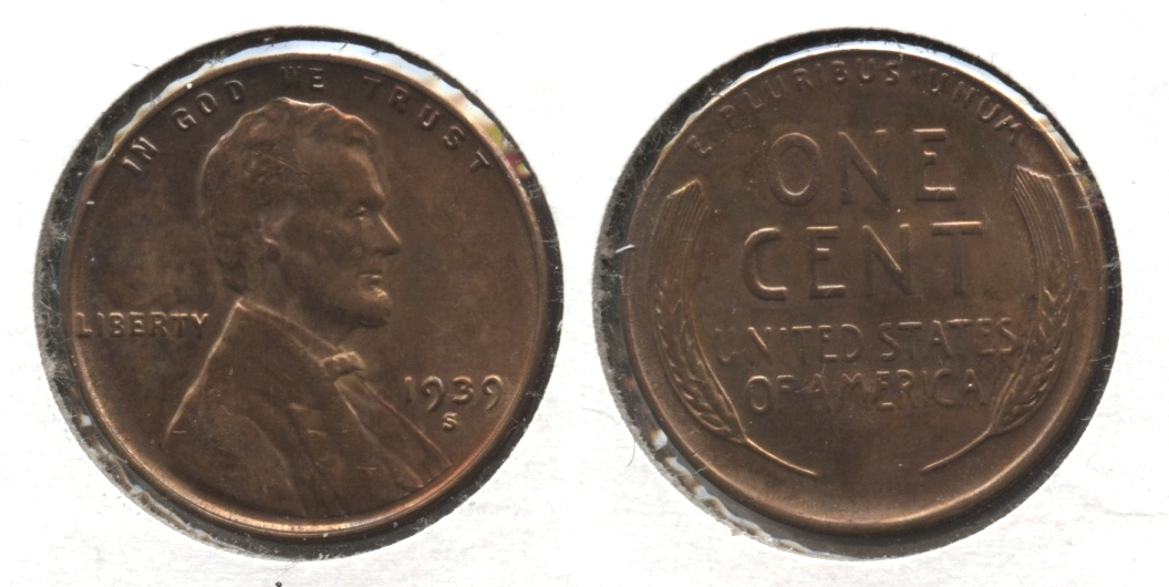 1939-S Lincoln Cent MS-60 Brown