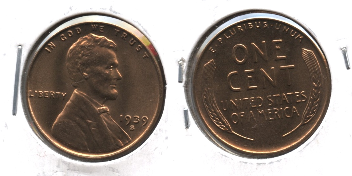1939-S Lincoln Cent MS-60 Red
