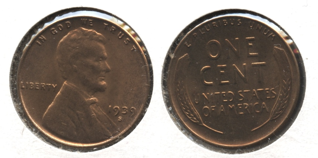 1939-S Lincoln Cent MS-61 Red Brown #b
