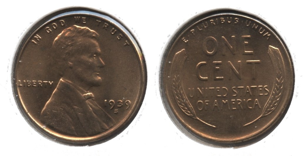 1939-S Lincoln Cent MS-61 Red Brown #c