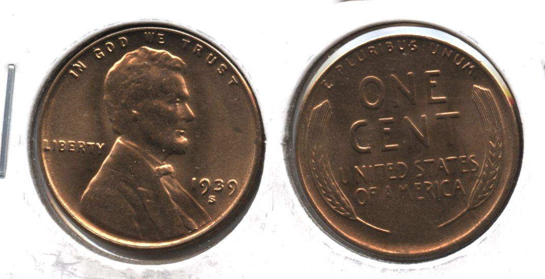 1939-S Lincoln Cent MS-61 Red #