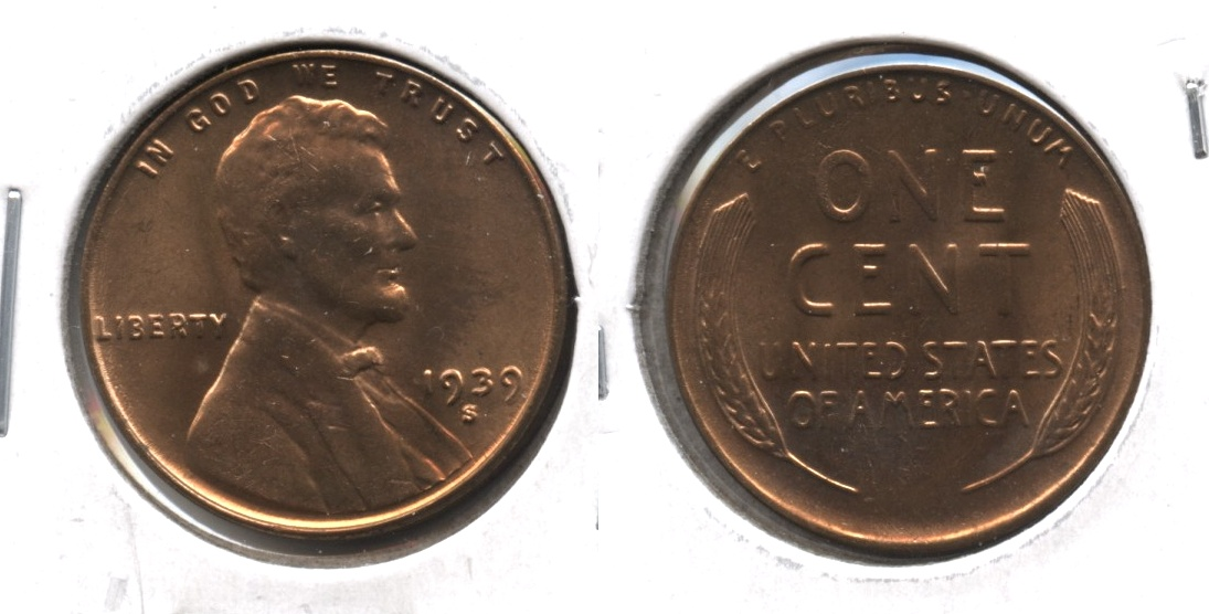 1939-S Lincoln Cent MS-61 Red #b