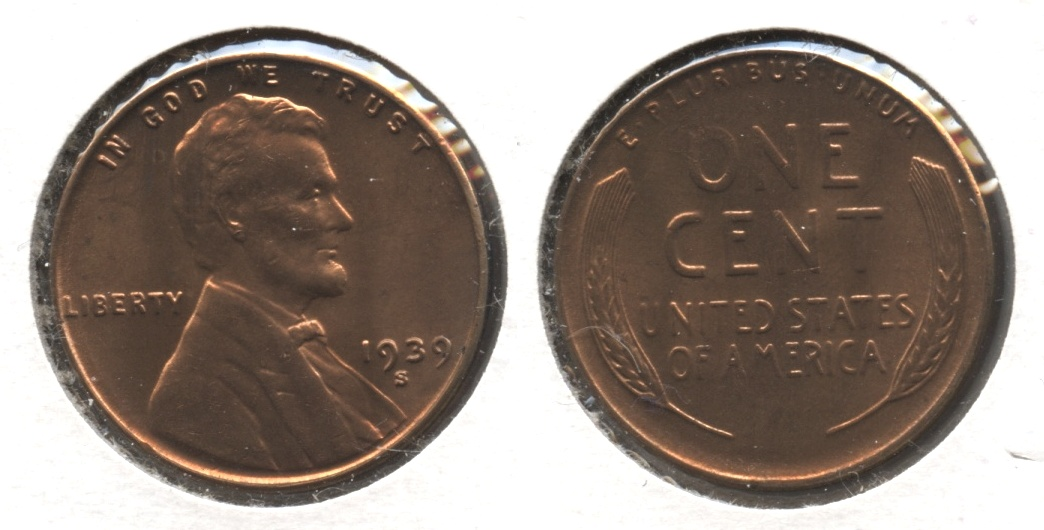 1939-S Lincoln Cent MS-61 Red #l