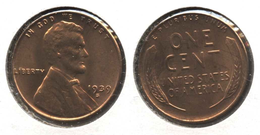 1939-S Lincoln Cent MS-61 Red #m