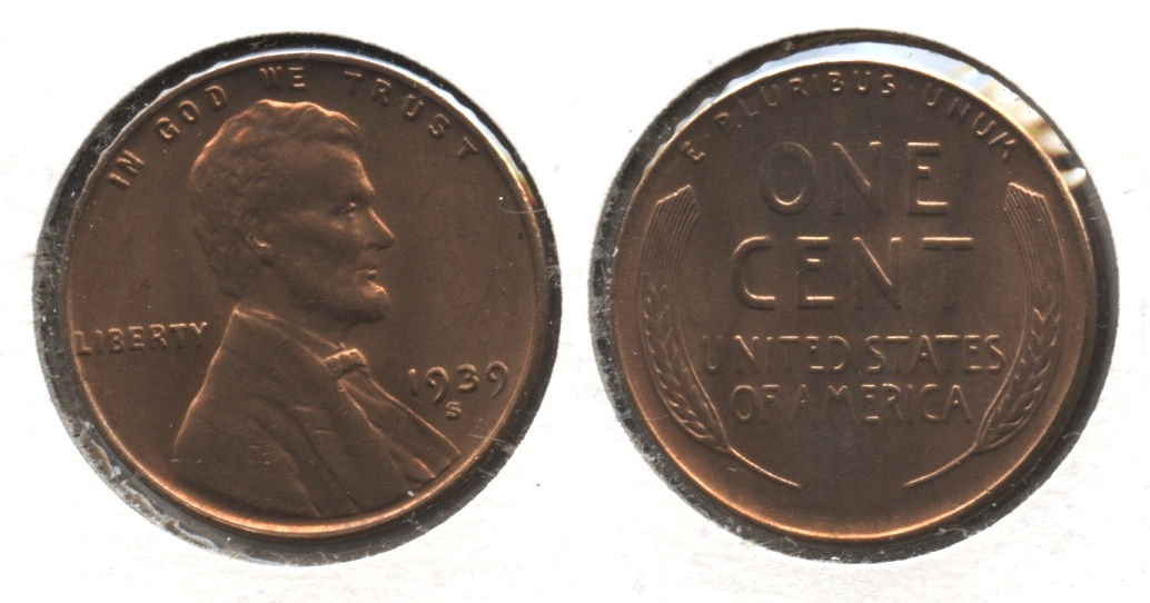 1939-S Lincoln Cent MS-62 Red Brown #b