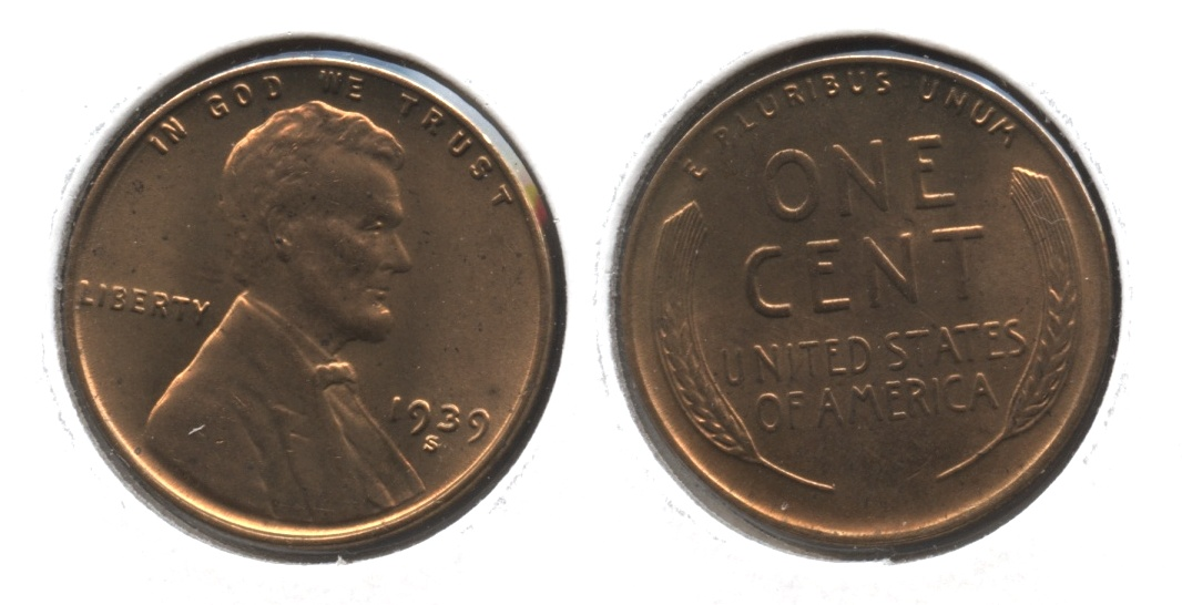1939-S Lincoln Cent MS-62 Red Brown #f