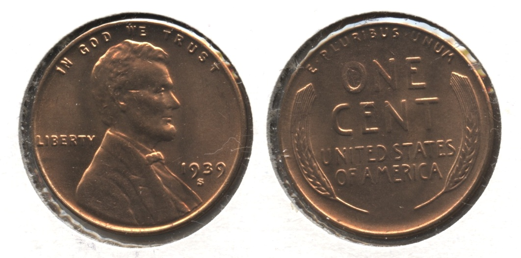 1939-S Lincoln Cent MS-62 Red #k