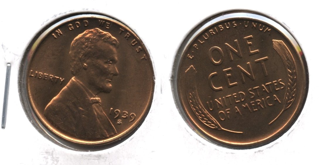 1939-S Lincoln Cent MS-63 Red Brown #a